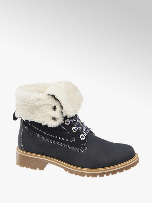 Landrover Navy Leather Fleece Lined Boots