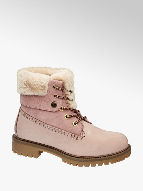 Landrover Light Pink Leather Lace-up Ankle Boots