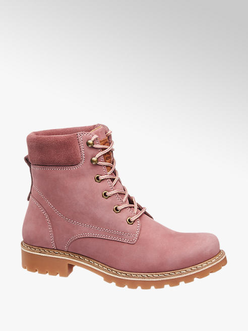 Landrover Pink Leather Lace-up Ankle Boots