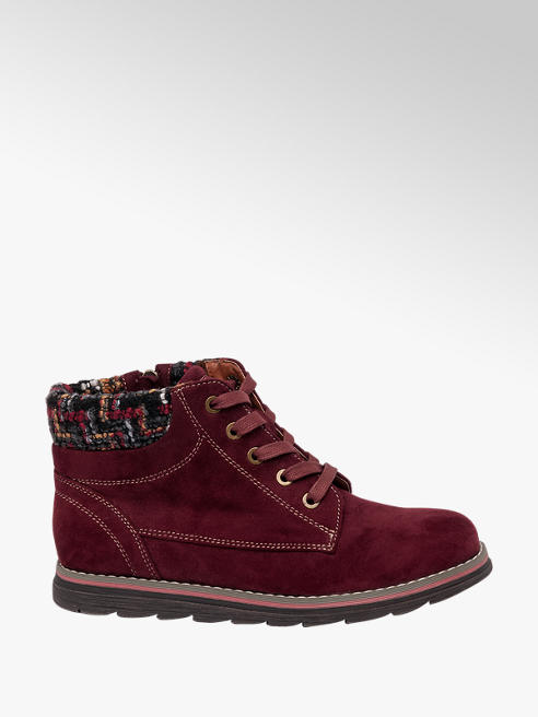 Lotus Burgundy Lace Up Ankle Boots