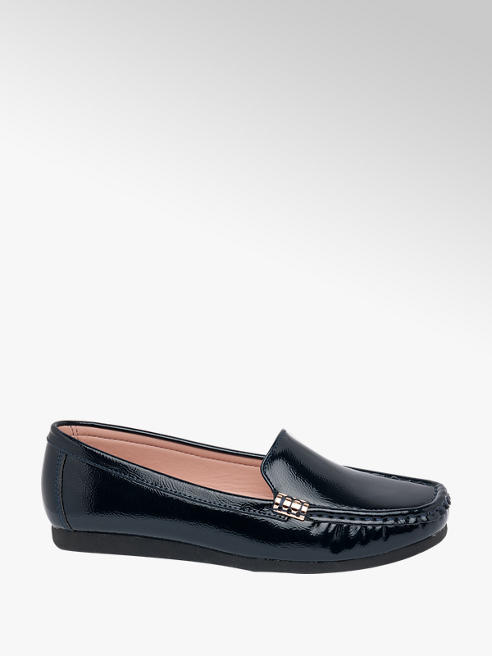 Lotus Navy Blue Patent Loafers