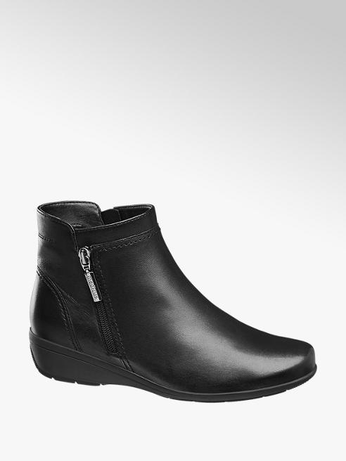 Medicus Black Leather Wedge Ankle Boots