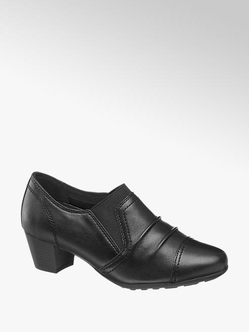 Medicus Ladies Black Comfort Slip On Shoe with Block Heel