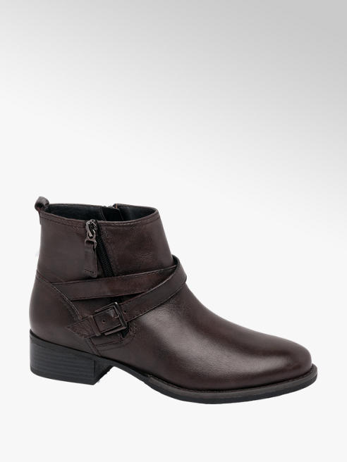 Medicus Dark Brown Leather Zip Up Ankle Boots