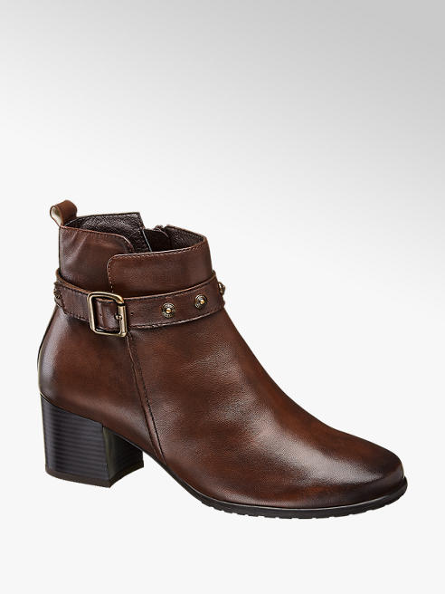 Medicus Brown Leather Heeled Comfort Ankle Boots
