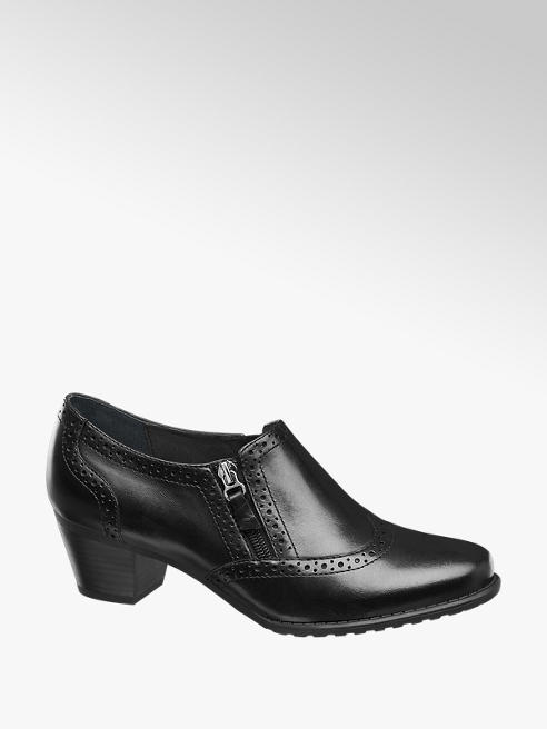 Medicus Black Leather Heeled Brogue Detail Comfort Shoes