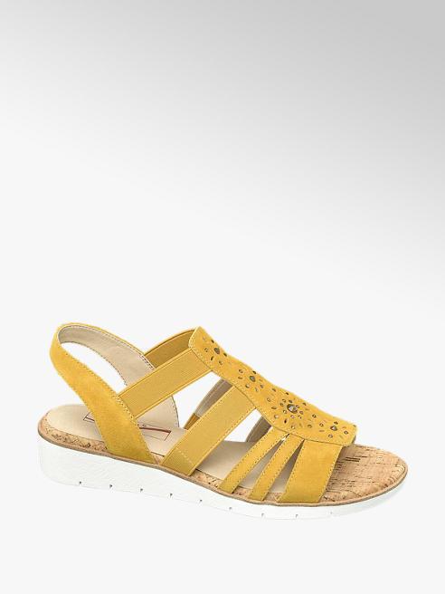 Medicus Leder Keil Sandalen in Gelb, Weite G