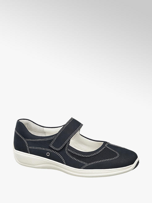 Medicus Leder Komfort Slipper in Blau, Weite: G