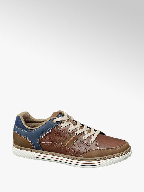 Memphis One Bruine sneaker blauwe detail