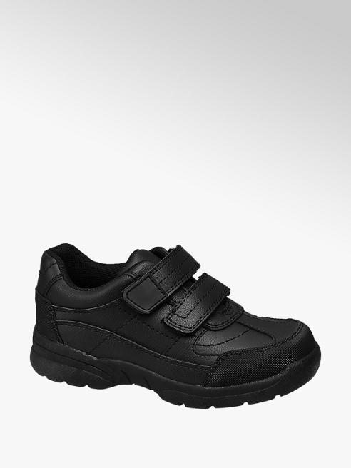 Memphis One Junior Boy Black Sporty Twin Strap School Shoes