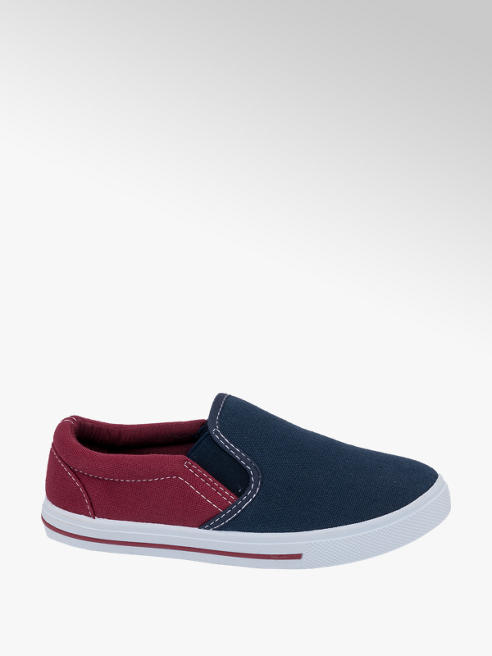 Memphis One Junior Boys Memphis One Navy/ Red Slip-on Canvas Shoes
