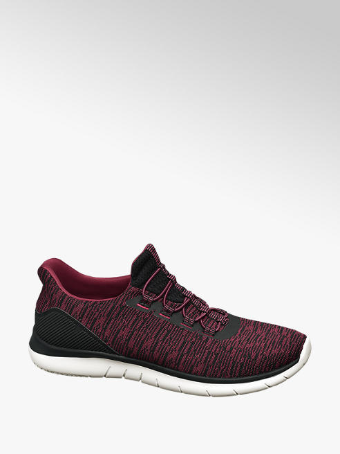 Vty Mens Red/ Black Lace-up Trainers
