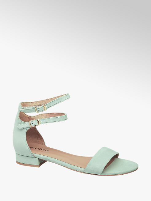 Wojas Mentolovozelené kožené sandále Wojas