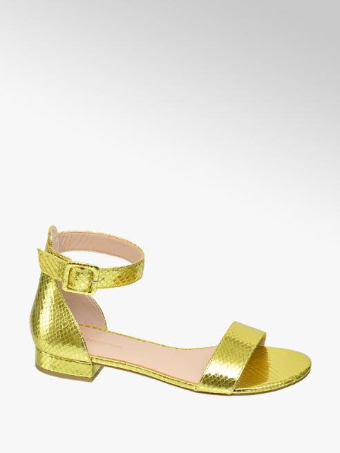 Star Collection Metalické žluté sandály Rita Ora se zvířecím vzorem