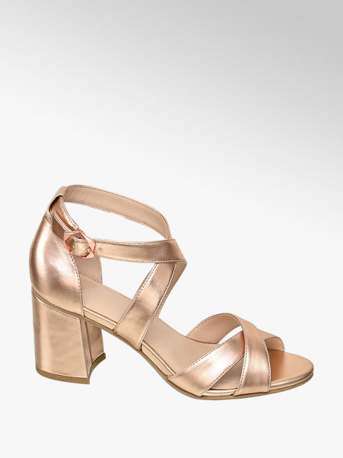 Graceland Metalické růžové sandály na podpatku Graceland