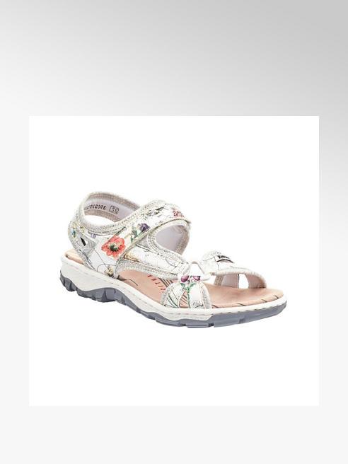 Rieker Metalické strieborné komfortné sandále Rieker s kvetinovým vzorom
