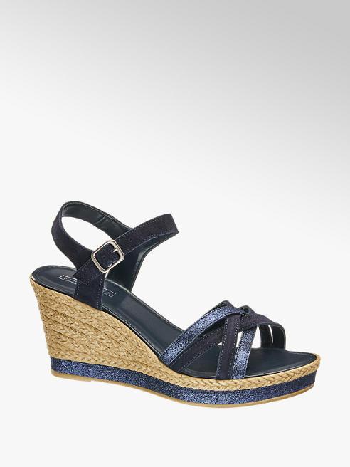5th Avenue Modré kožené sandály na klínku 5th Avenue