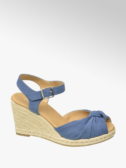 Graceland Modré sandále na klinovom podpätku Graceland
