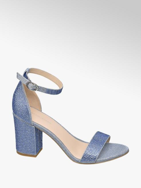 Star Collection Modré sandály na podpatku Rita Ora s kamínky