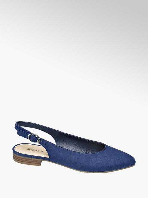 Graceland Modré slingback baleríny Graceland