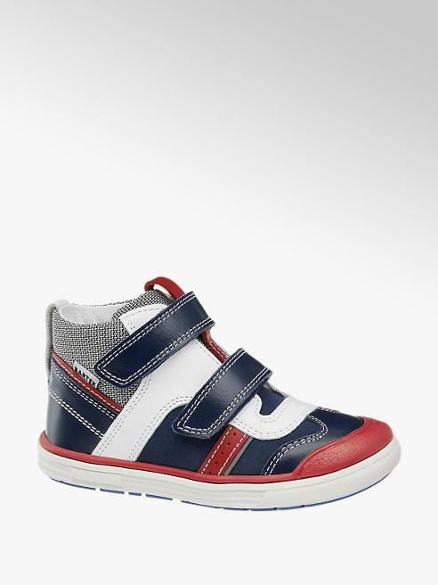Bartek Modro-bílá kožená dětská kotníková obuv na suchý zip Bartek