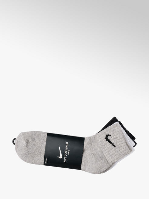 NIKE Mens Nike 3pk Black/ Grey/ White Cushion Ankle Socks L