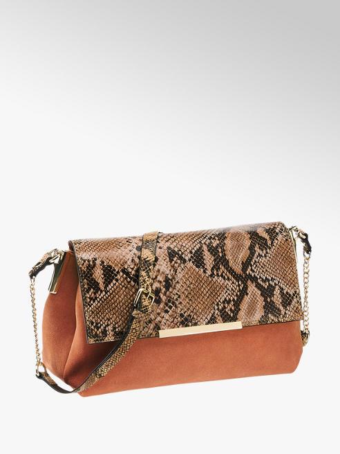 5th Avenue Oranžová kožená kabelka 5th Avenue se zvířecím vzorem
