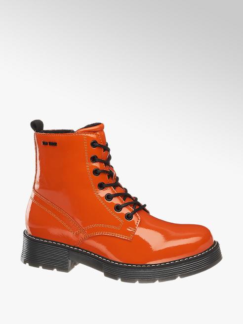 Tom Tailor Oranžová lakovaná šněrovací obuv se zipem Tom Tailor