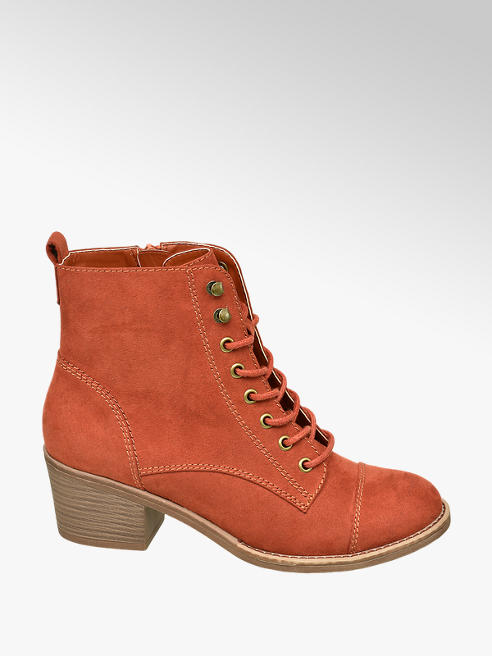Graceland Oranžová šnurovacia obuv so zipsom Graceland