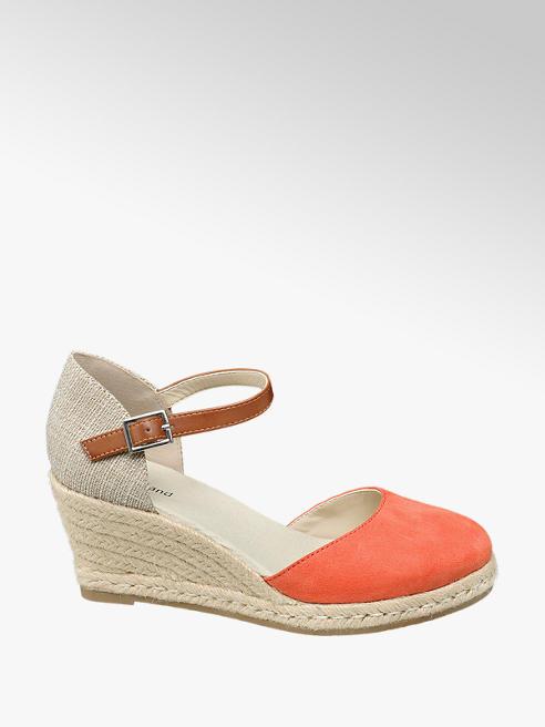 Graceland Oranžové sandály na klínku Graceland