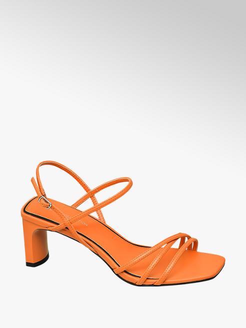 Star Collection Oranžové sandály na podpatku Rita Ora