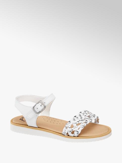 Pablosky Leder Sandalen in Weiß mit Metallic Details