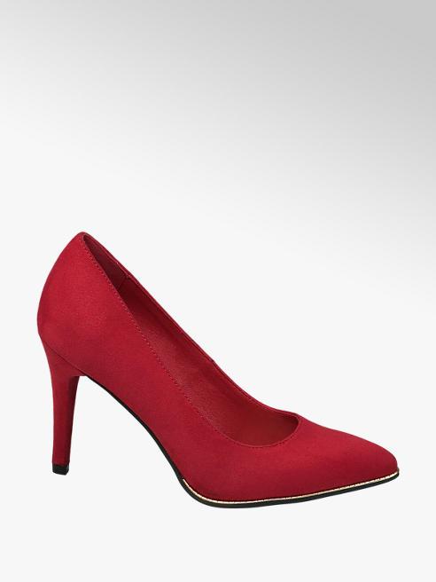 Graceland Piros magassarkú körömcipő