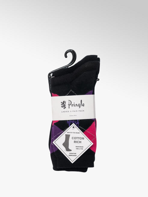Pringle Ladies 3 Pack Pringle Argyle Ankle Socks (UK 4-8)