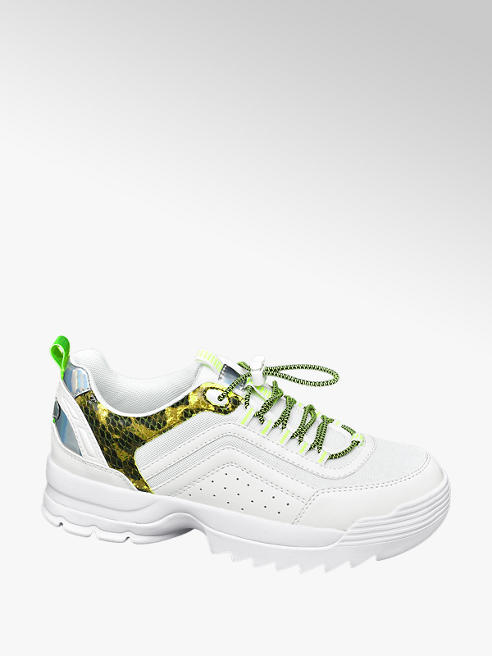 Star Collection Rita Ora Star Collection White and Green Leopard Lace Up Chunky Trainers