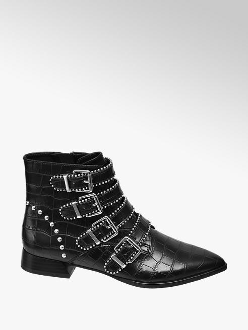 Star Collection Rita Ora Star Collection Black Croc Pointed Ankle Boots