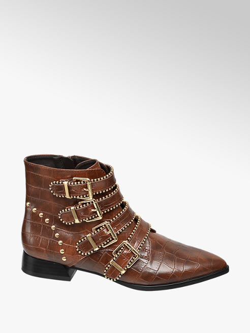 Star Collection Rita Ora Star Collection Brown Croc Studded Ankle Boots