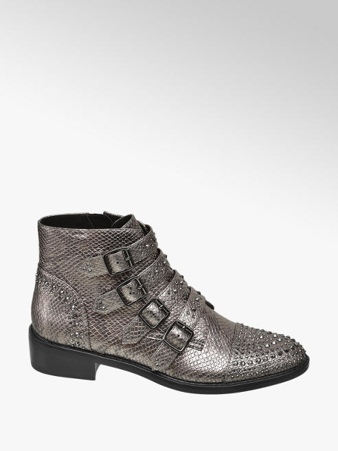 Star Collection Rita Ora Star Collection Grey Snake Studded Ankle Boots