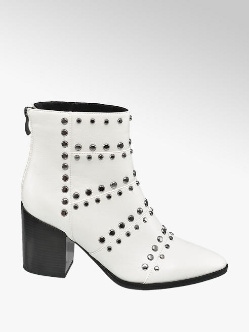 Star Collection Rita Ora Star Collection White Studded Heeled Ankle Boots