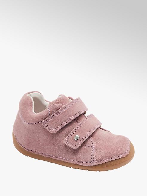 Elefanten Růžová dětská kožená obuv Elefanten na suchý zip