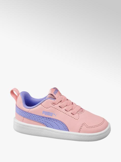 Puma Růžové dětské slip-on tenisky Puma Courtflex s elastickými tkaničkami