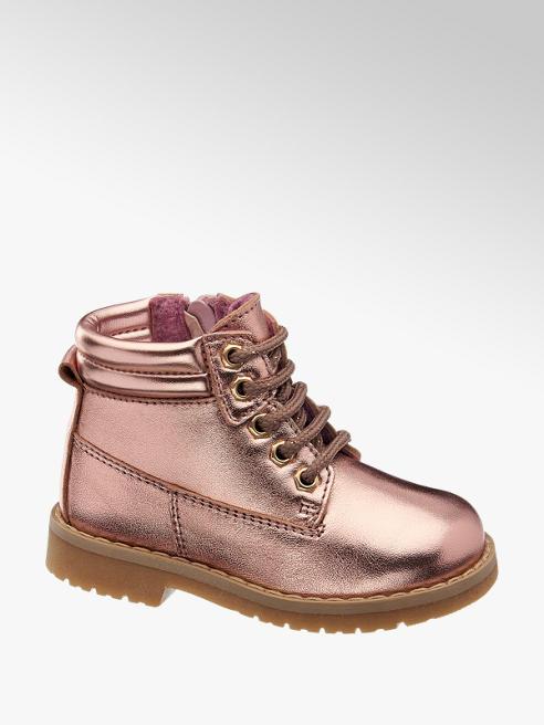 Bärenschuhe Růžová kožená dětská kotníková obuv Bärenschuhe se zipem
