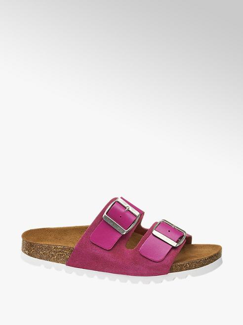 Vero Moda Růžové kožené pantofle Vero Moda