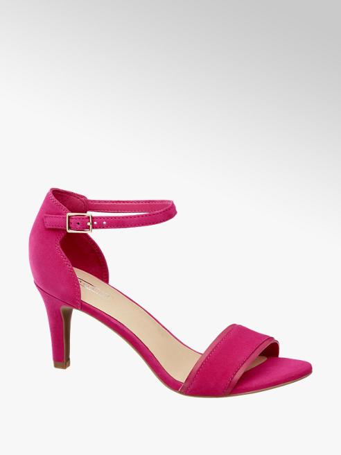 5th Avenue Růžové kožené sandály na podpatku 5th Avenue