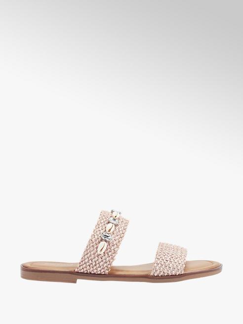 Graceland Růžové pantofle Graceland se zirkony