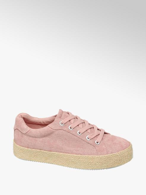 Graceland Růžové plátěné tenisky na platformě Graceland