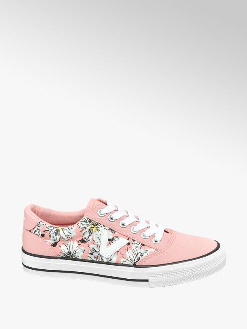 Vty Růžové plátěné tenisky s květinovým vzorem Vty