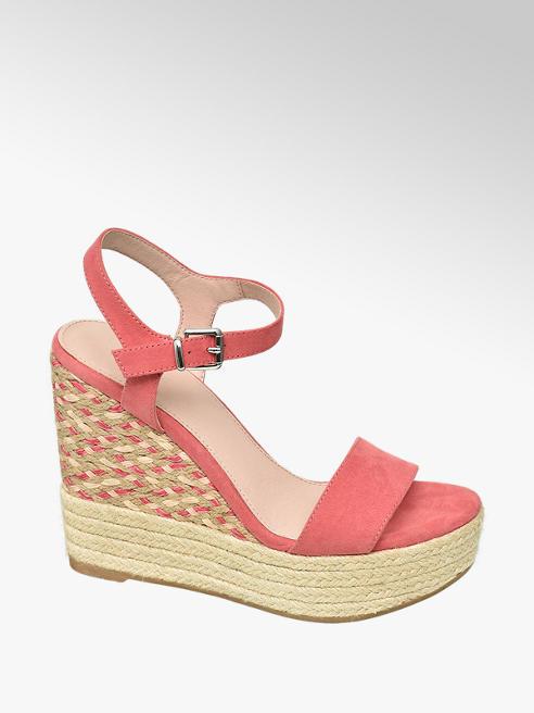 Graceland Růžové sandály na klínku Graceland