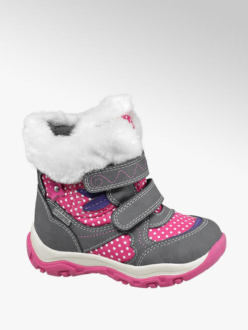 Cortina Růžovo-šedá dětská zimní obuv na suchý zip Cortina s TEX membránou