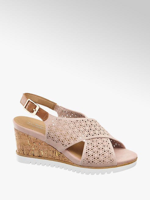 a23a4b0d41b31 Różowe sandały na koturnie 5th Avenue - 1254842 - deichmann.com